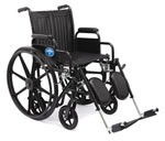 Hybrid Wheelchair (Standard and Transport Combo) Removable Desk Arms, Elevating Legrests