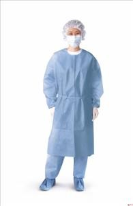 Isolation Gown, Closed Back, w/ Elastic Cuff, Blue (Case of 50)